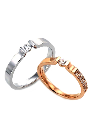 [14K Gold]사이클램 커플링Cyclame Couple ring j3862