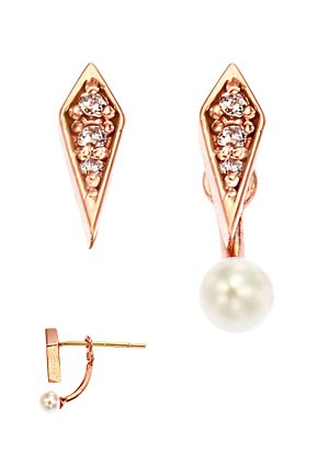 [14K Gold]멜팅 펄 이어링Melting pearl earrings j3829